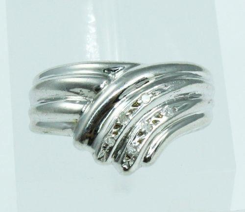 Anel De Ouro Branco 18k750 Diamantes 407