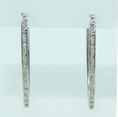 Brincos De Ouro Branco 18k750 Diamantes B807