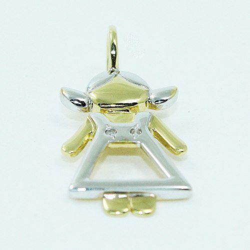Pingente De Ouro 18k750 Menina Diamantes P701