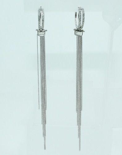 Brincos De Ouro Branco 18k750 Diamantes B805