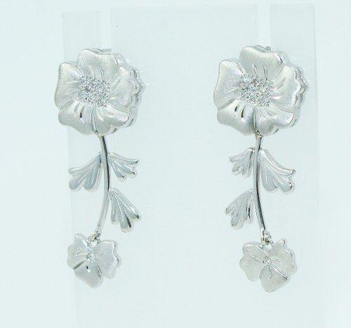 Brincos De Ouro Branco 18k750 Flor Diamantes B803