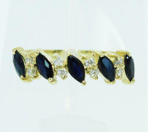 Anel De Ouro 18k750 Safiras E Diamantes 403
