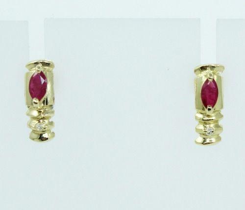 Brincos De Ouro 18k750 Diamantes Rubis B795