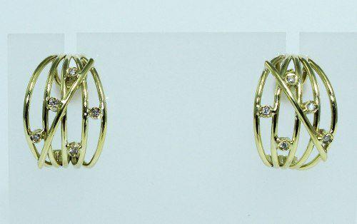 Brincos De Ouro 18k750 Diamantes B197
