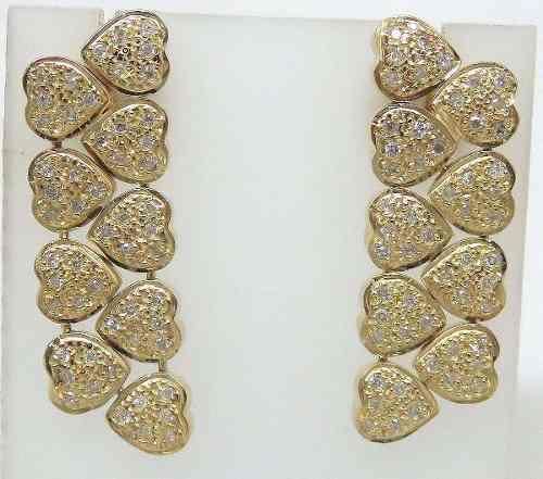 Brincos De Ouro 18k750 Diamantes Corações B340