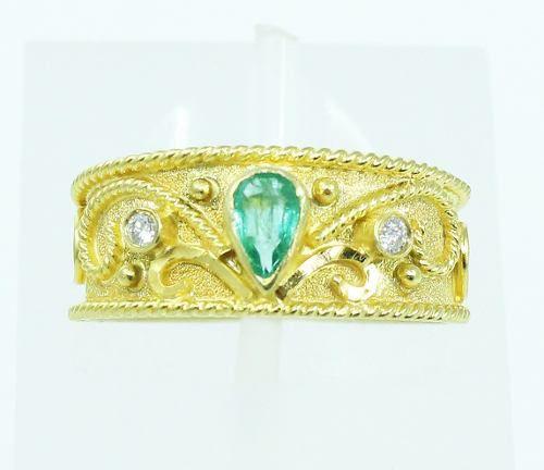 Anel De Ouro 18k750 Diamantes Esmeralda 2166