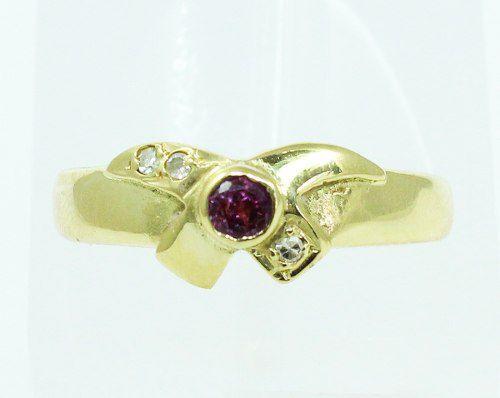 Anel De Ouro 18k750 Diamantes Rubi 2165
