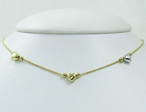 Colar De Ouro 18k750 Diamantes Coração C331