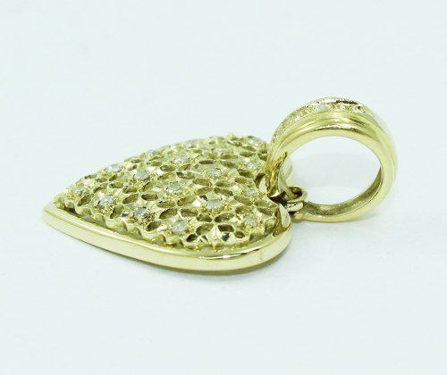 Pingente De Ouro 18k750 Coração Diamantes P695