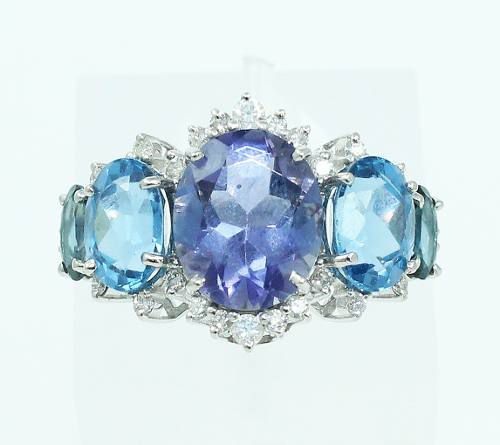 Anel De Ouro Branco 18k750 Diamantes Topázios 2161