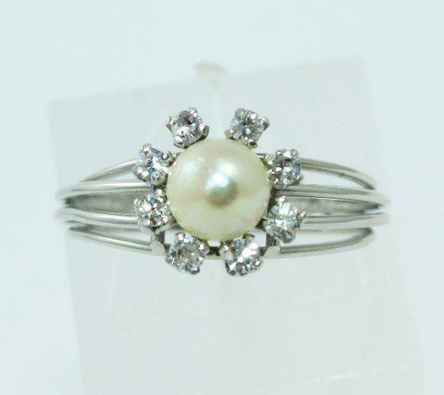 Anel De Ouro Branco 18k750 Diamantes E Pérola 622