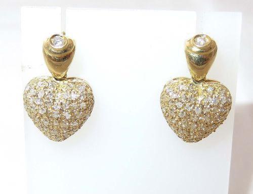 Brincos De Ouro 18k750 Coração Diamantes B326