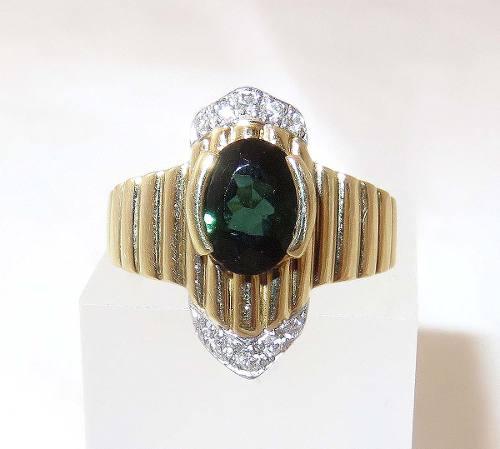 Anel De Ouro 18k750 Diamante Turmalina 476