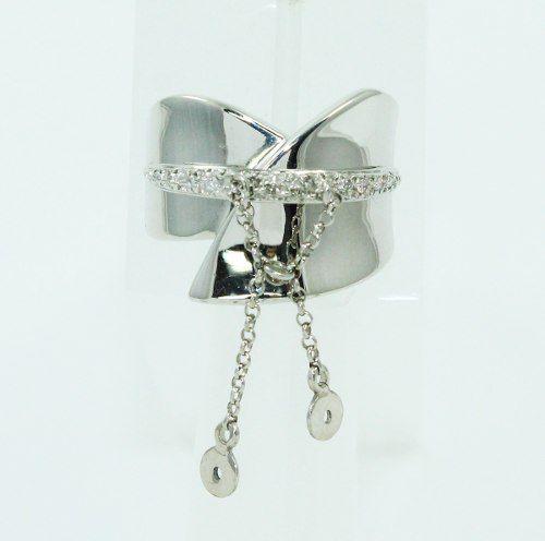Anel Ouro Branco 18k750 Pendurado Diamantes 554