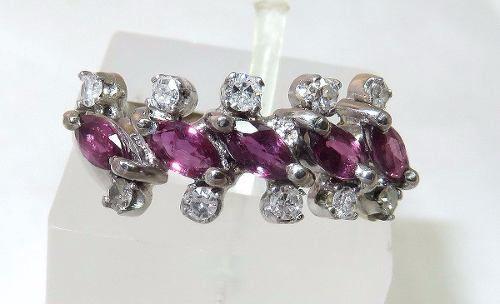 Anel De Ouro Branco 18k750 Diamantes Rubi 605