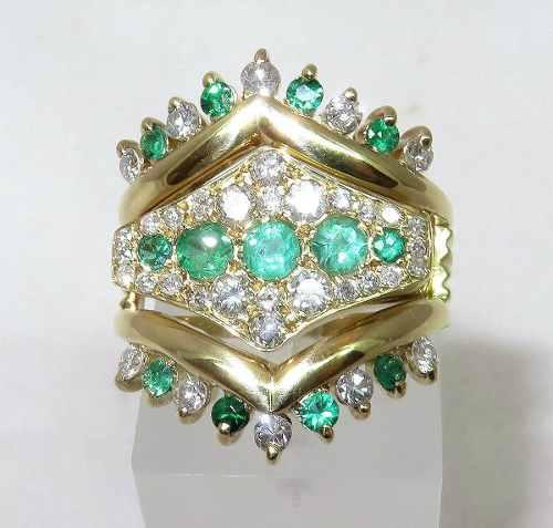 Anel De Ouro 18k Diamantes E Esmeraldas 776