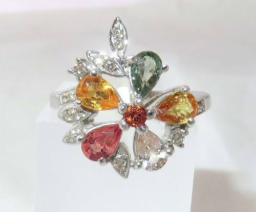 Anel De Ouro Branco 18k750 Diamantes 492