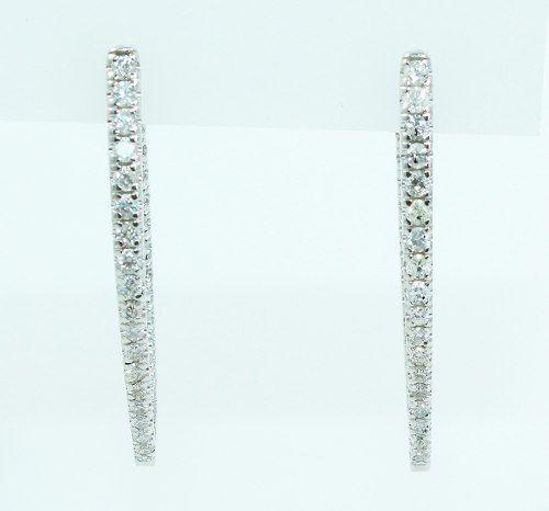 Brincos De Ouro Branco 18k750 Diamantes B782