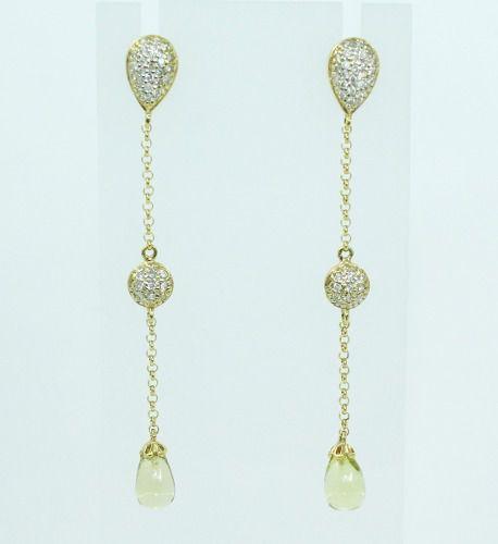Brinco De Ouro 18k750 Diamantes Quartzos B247