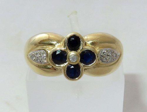 Anel De Ouro 18k750 Diamantes Safiras 346