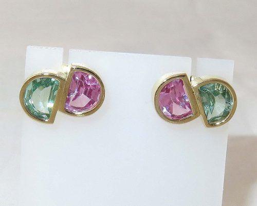 Brincos De Ouro 18k750 Turmalinas Rosa Verde B179