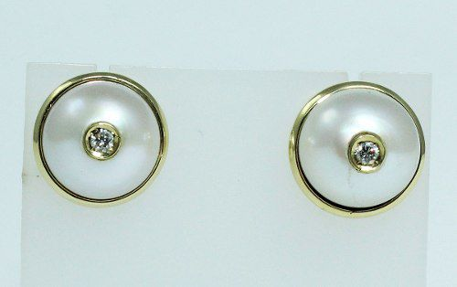 Brincos De Ouro 18k750 Diamantes Pérolas B223