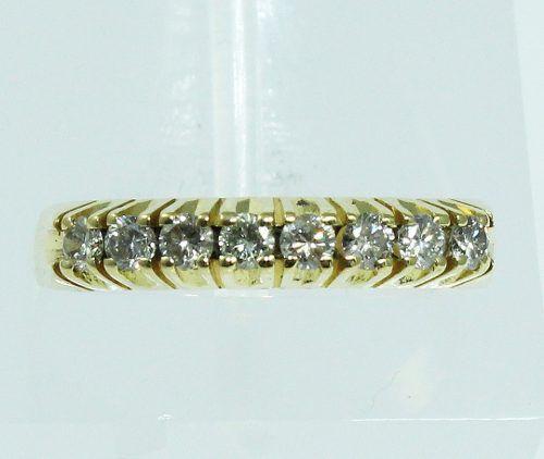 Anel Meia Aliança De Ouro 18k750 Diamantes 848
