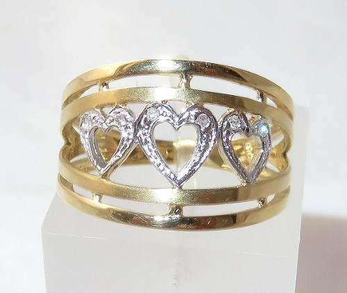 Anel De Ouro 18k750 Coração Diamantes 303