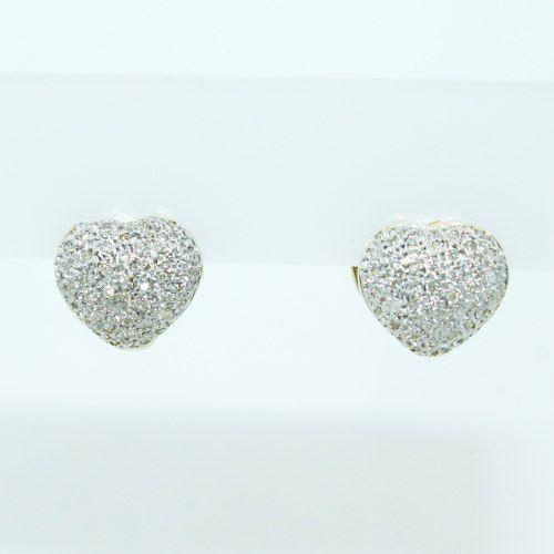 Brinco De Ouro 18k750 Diamantes Coração B875