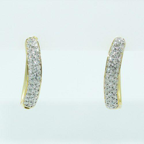Brinco De Ouro 18k750 Diamantes B874