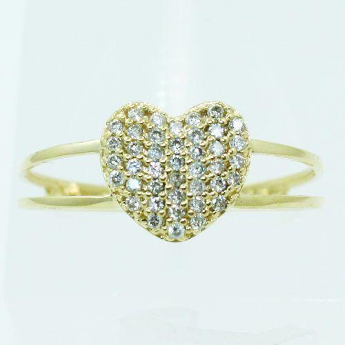 Anel De Ouro 18k750 Diamantes Coração 2501