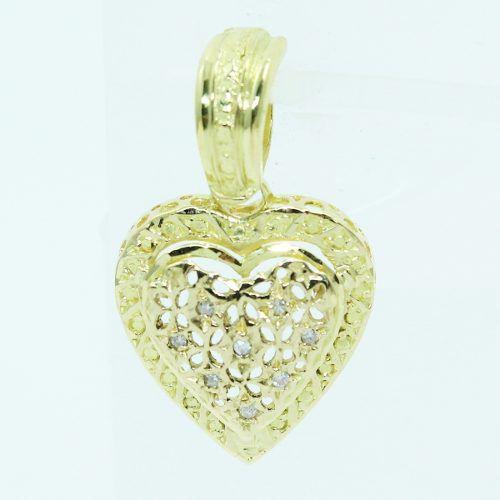 Pingente De Ouro 18k750 Coração Diamantes P709