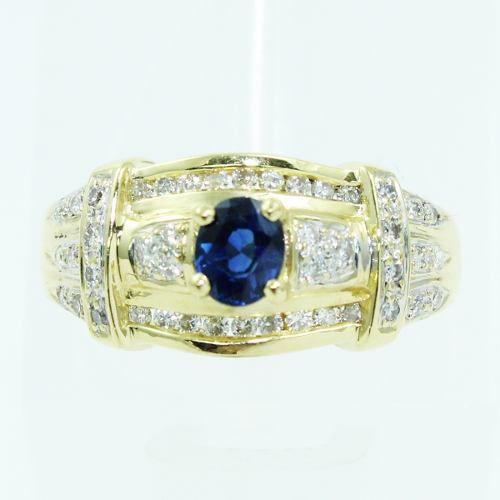 Anel De Ouro 18k750 Diamantes Safira 2523