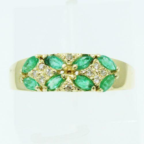 Anel De Ouro 18k750 Diamantes Esmeraldas 2521