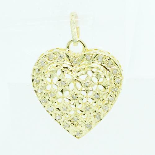 Pingente De Ouro 18k750 Coração Diamantes P710