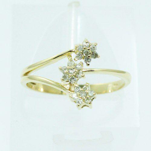 Anel De Ouro 18k750 Diamantes Flor 2528