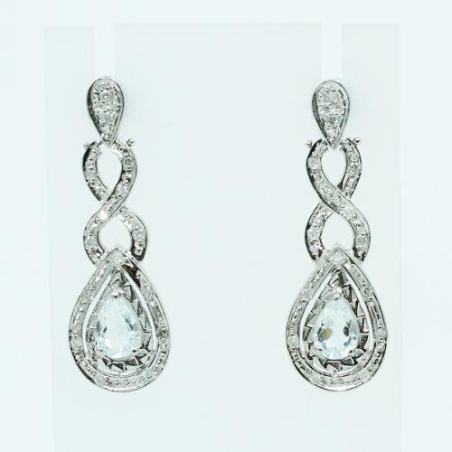 Brinco Ouro Branco 18k750 Topázios Diamantes B879