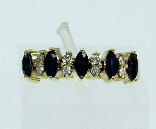 Anel Ouro 18k750 Safiras E Diamantes 177