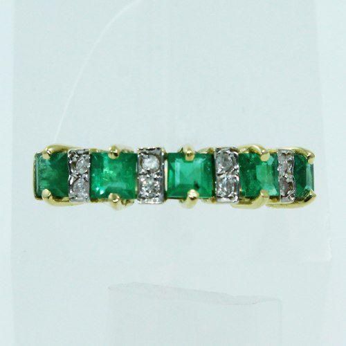 Anel De Ouro 18k750 Diamantes Esmeraldas 2541