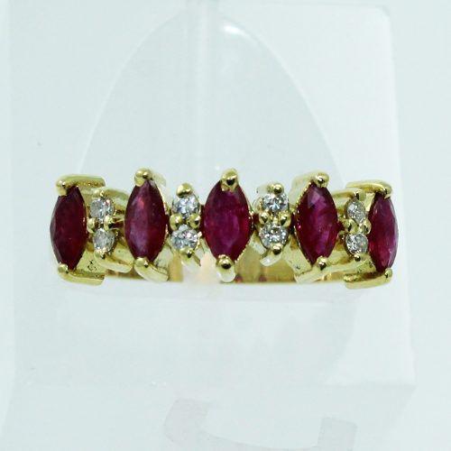 Anel De Ouro 18k750 Diamantes Rubis 2542