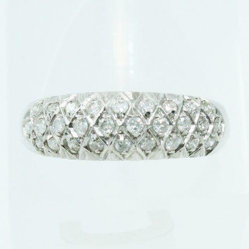 Anel De Ouro Branco 18k750 Diamantes 2546