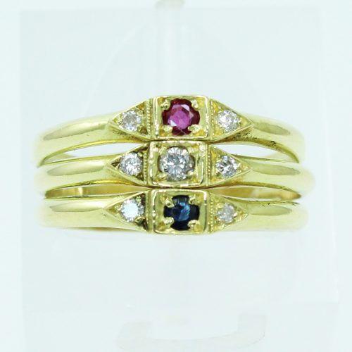 Anel De Ouro 18k750 Diamantes Rubi Safira 2549