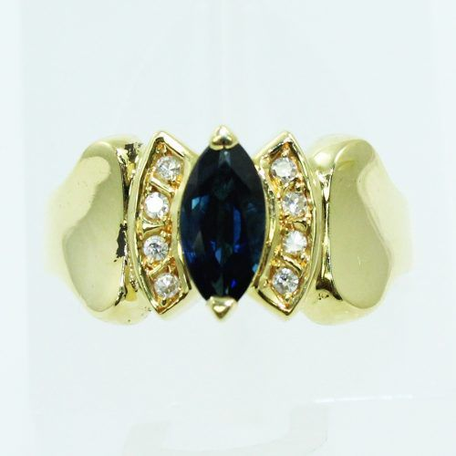 Anel De Ouro 18k750 Diamantes Safira 2550