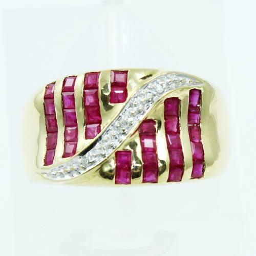 Anel De Ouro 18k750 Rubis Diamantes 2551