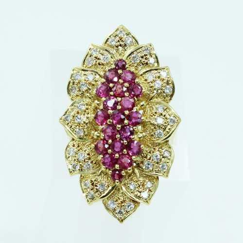 Anel De Ouro 18k750 Rubis Diamantes 2553