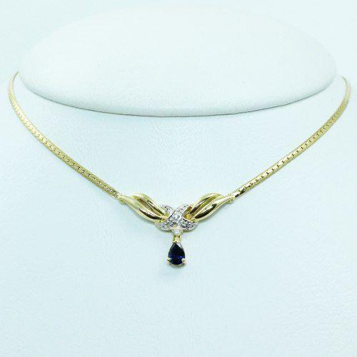 Colar De Ouro 18k750 Diamantes Safira C336