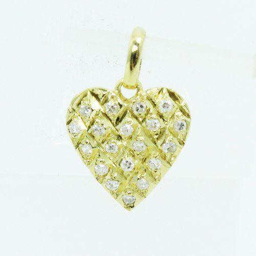 Pingente De Ouro 18k750 Coração Diamantes P712