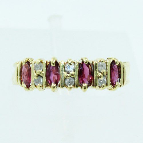 Anel De Ouro 18k750 Diamantes Rubis 2559