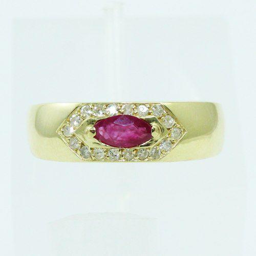 Anel De Ouro 18k750 Diamantes Rubi 2558