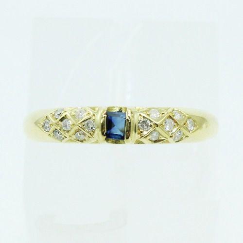 Anel De Ouro 18k750 Diamantes Safira 2560